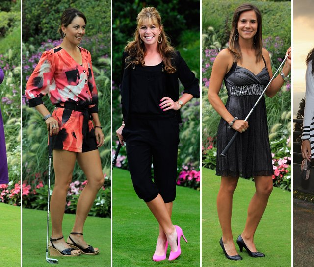 (left to right) Maria Verchenova, Stacy Prammanasudh, Paula Creamer, Azahara Munoz and Michelle Wie dress up for a gala dinner after the third round of the Evian Masters.