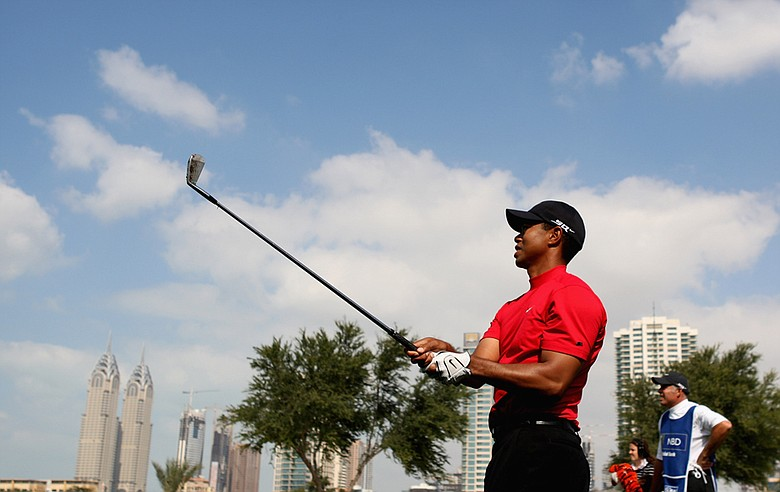 Tiger Woods during the final round of the 2008 Dubai Desert Classic.