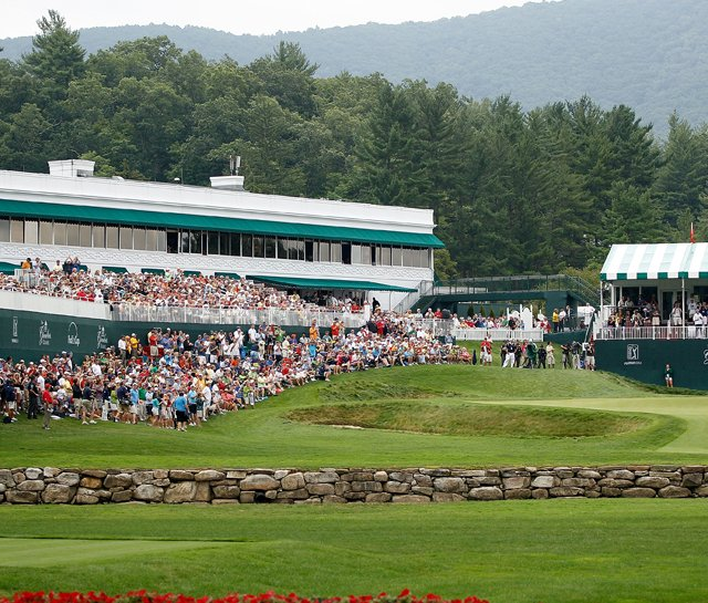 The 18th green during the final round of the Greenbrier Classic.