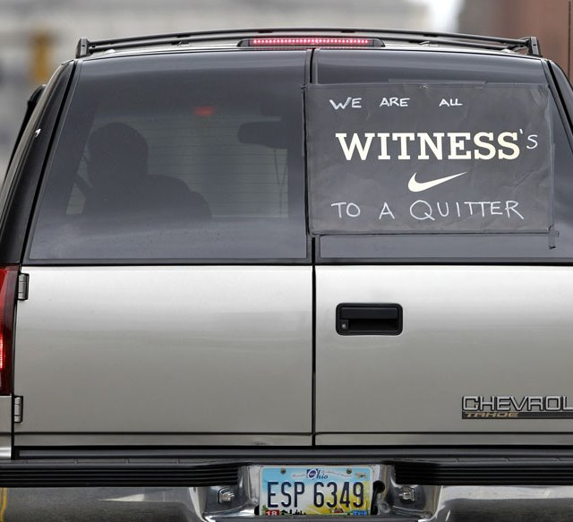 An Ohio driver expressing his feelings in downtown Cleveland on July 9, the morning after LeBron James announced that he would be signing a contract with the Miami Heat.
