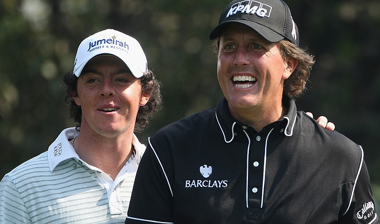 Rory McIlroy (left) and Phil Mickelson