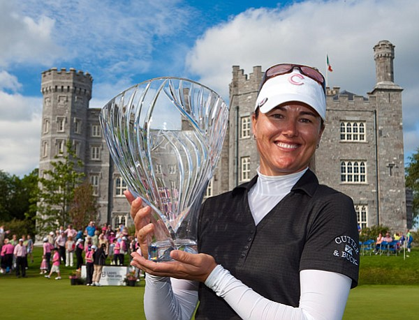 Sophie Gustafson poses with her trophy in front of Killeen Castle.