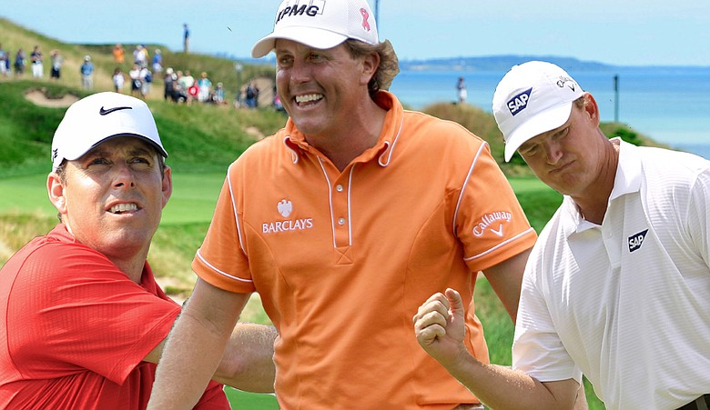 Justin Leonard, left, Phil Mickelson, center and Ernie Els highlight the Golfweek staff picks.