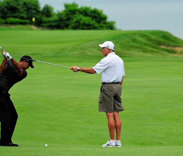 Tiger Woods practices Monday at the PGA Championship.