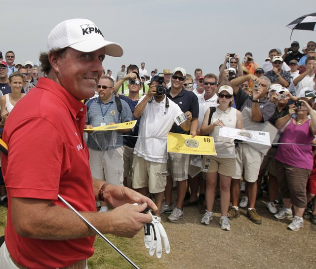 Phil Mickelson during a practice round for the PGA Championship.