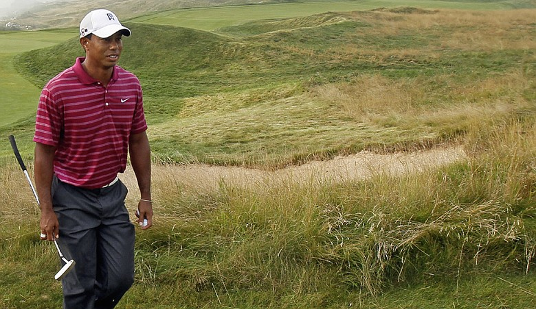 Tiger Woods during a practice round for the PGA Championship at Whistling Straits.