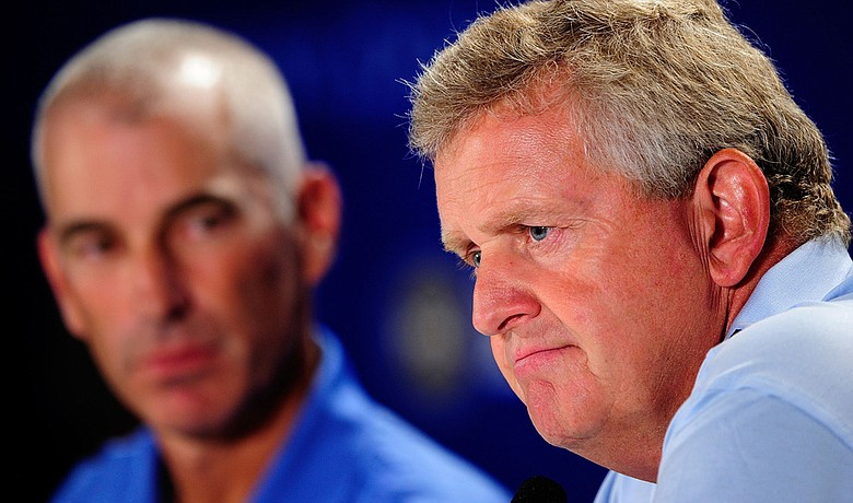 Ryder Cup captains Corey Pavin (left) and Colin Montgomerie address the media at the PGA Championship.