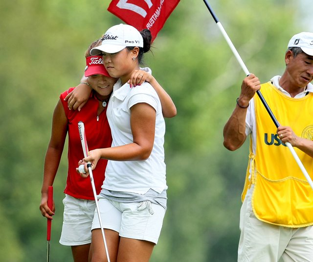 Danielle Kang, right, after defeating Grace Na in the Round of 64 at the U.S. Women's Amateur.