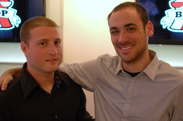 Alex Tchekmeian, left, and Jared Mendelewicz are the faces behind AKT Enterprises, a branding and merchandising company.