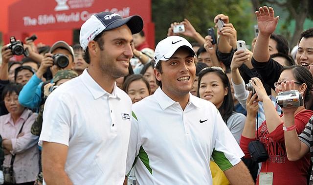 Italian brothers Edoardo Molinari (left) Francesco Molinari celebrate after winning the World Cup of Golf at the Mission Hills Golf Club in Shenzhen, China on Nov. 29, 2009.