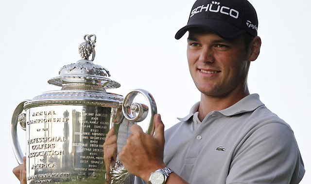 Martin Kaymer of Germany holds the Wanamaker Trophy after winning a playoff in the U.S. PGA Championship  Aug. 15, 2010, at Whistling Straits.