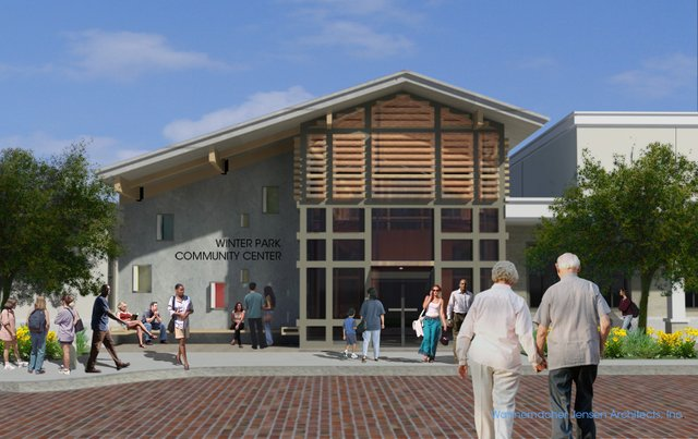 This is a digital mock-up of the new Winter Park Community Center, which will include a gaming area, computer lab, swimming pool and more.