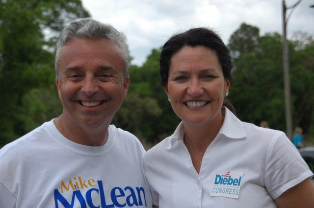 Winter Park Commissioner Karen Diebel, right, rubs elbows with Seminole County Commissioner Mike McLean, who's running for re-election. Diebel is challenging freshman democrat Suzanne Kosmas for the U.S. House District 24 seat.