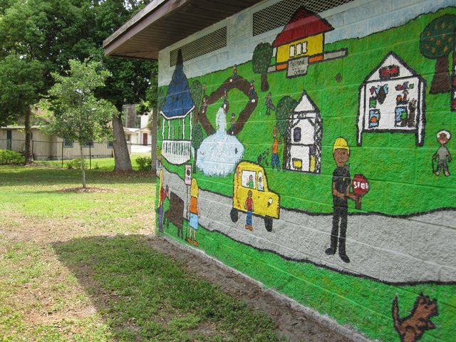 A mural painted by Maitland Middle School students is one of the many improvements to Bellamy Park. The bathroom doors were recently unlocked after seven years.