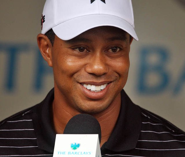 Tiger Woods speaks with the media after The Barclays pro-am on Aug. 25.