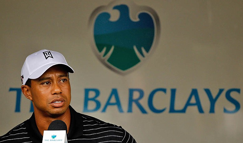 Tiger Woods addresses the media Aug. 25 at The Barclays.