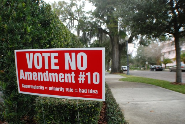 A campaign sign against the controversial Amendment 10 is on display on a Winter Park street before the March 9 election. The amendment did not pass, but a similar ordinance was upheld by the Commission.