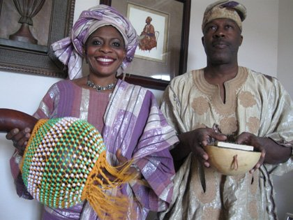 Tutu and Don Harrell, dressed in authentic Nigerian attire, will perform African music and folklore in this year's ArtsFest Florida, starting Thursday, Feb. 4.