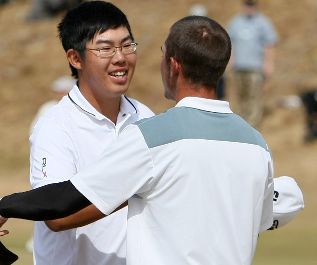 Byeong-Hun An defeated Max Homa, 1 up, during quarterfinals of the 110th U.S. Amateur Championship.