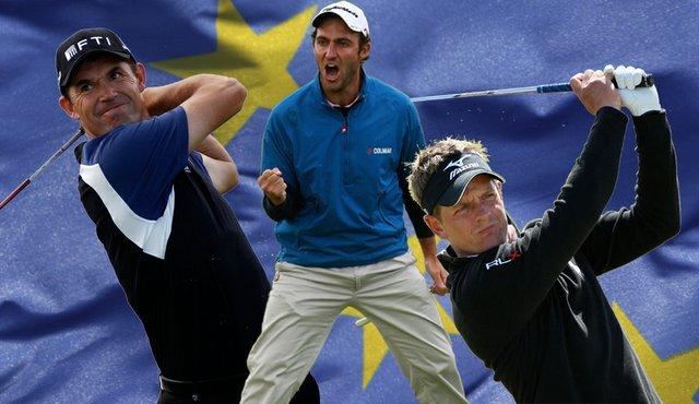 From left, Padraig Harrington, Edoardo Molinari and Luke Donald were chosen to the European Ryder Cup team.