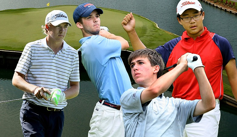 From left, Jordan Spieth, Denny McCarthy, Oliver Schniederjans and Jim Liu are set to do battle at the Junior Players Championship at TPC Sawgrass.