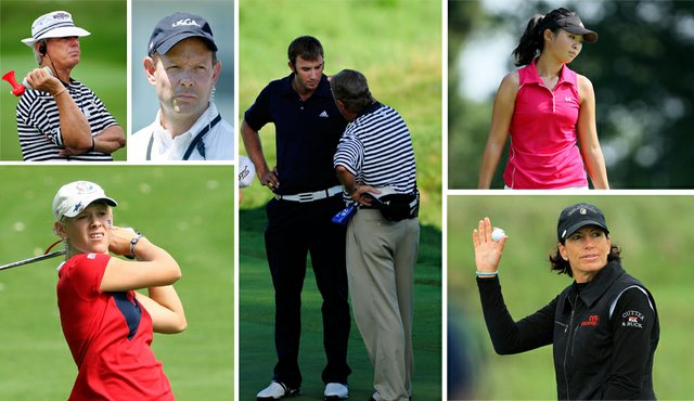 Dustin Johnson (center), Sarah Brown (lower left), Erynne Lee (upper right) and Juli Inkster (lower right) have all been at the center of rules discussions this year.