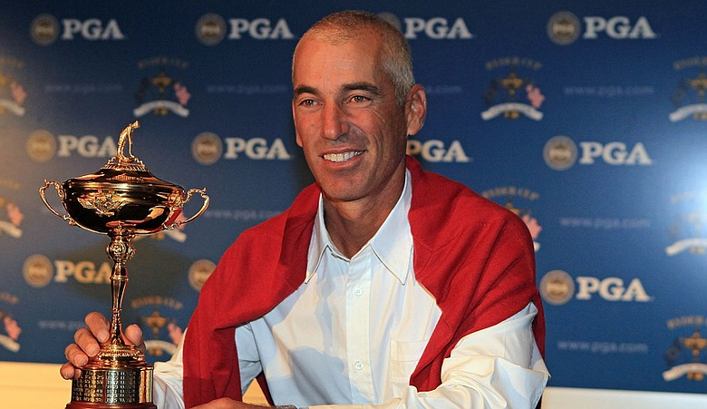 U.S. Ryder Cup captain Corey Pavin at a press conference.