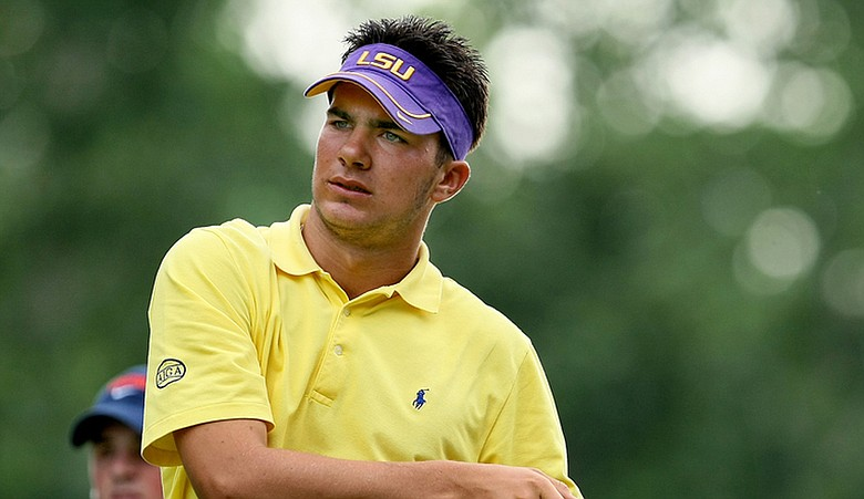 Curtis Thompson sports an LSU visor on the golf course. (file photo)