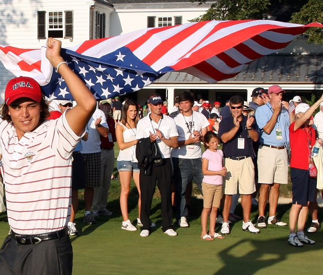 Rickie Fowler celebrates after Team USA&#39;s victory at the 2009 Walker Cup.
