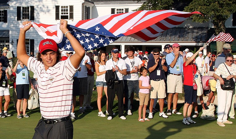 Rickie Fowler celebrates after Team USA's victory at the 2009 Walker Cup.