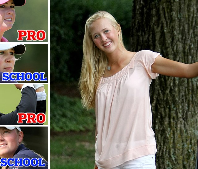 Jessica Korda (right) will likely follow the path of Paula Creamer (top left) and Brittany Lincicome (second from bottom) and turn pro before going to college. Amanda Blumenherst (second from top) and Stacy Lewis (bottom left) both graduated from college and are now on the LPGA.