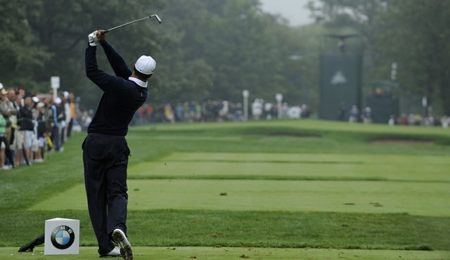 Tiger Woods tees off on the second hole during Round 3 of the BMW Championship.