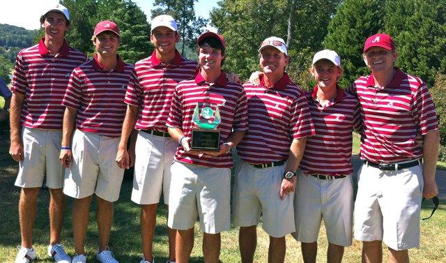 (left to right) Scott Strohmeyer, Bobby Wyatt, Cory Whitsett, Hunter Hamrick, coach Jay Seawell, Bud Cauley and assistant coach Scott Limbaugh