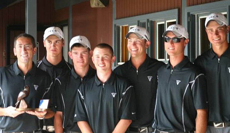 The University of Colorado at Colorado Springs golf team after winning the Gene Miranda Falcon Invitational