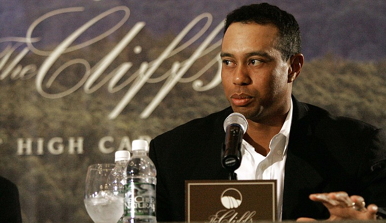 Tiger Woods announces plans for The Cliffs at High Carolina during a 2007 press conference.