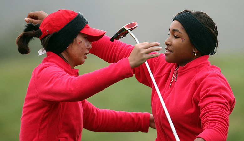 Doris Chen and Ginger Howard following their opening-round match at the Junior Ryder Cup.
