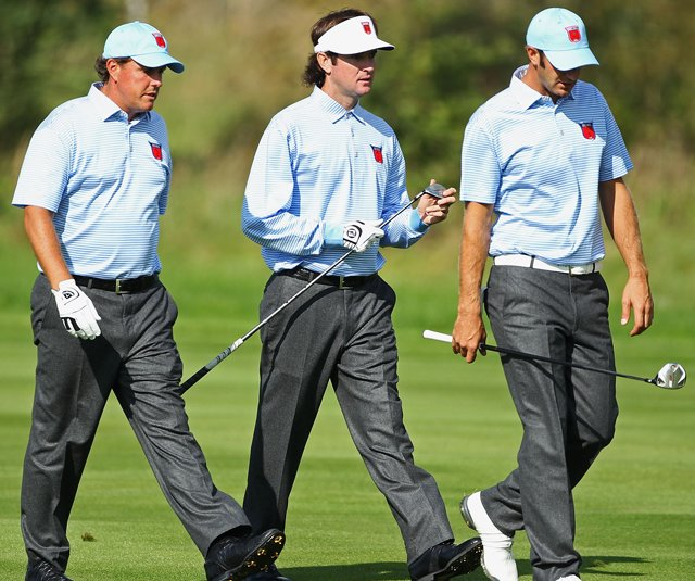 Phil Mickelson, Bubba Watson and Dustin Johnson during a Tuesday practice round at the Ryder Cup.