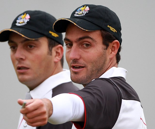 Francesco and Edoardo Molinari during a Ryder Cup practice round.