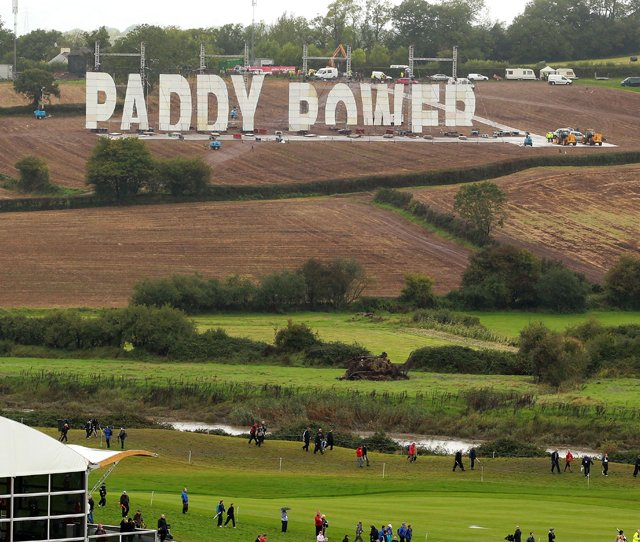 Bookmaker Paddy Power displays a large sign on the hillside above the Twenty Ten Course during a practice round prior to the 2010 Ryder Cup.