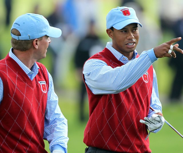 Steve Stricker and Tiger Woods during a Ryder Cup practice round.