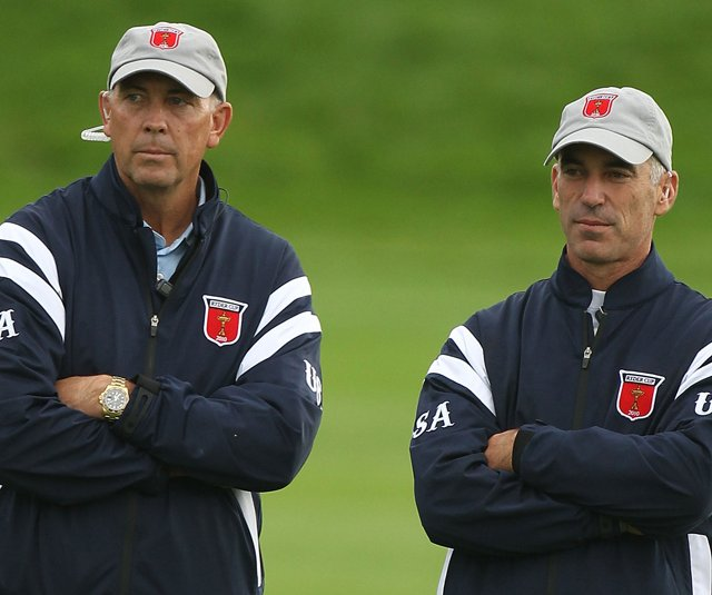 Assistant captain Tom Lehman and U.S. captain Corey Pavin during the opening four-ball matches. 