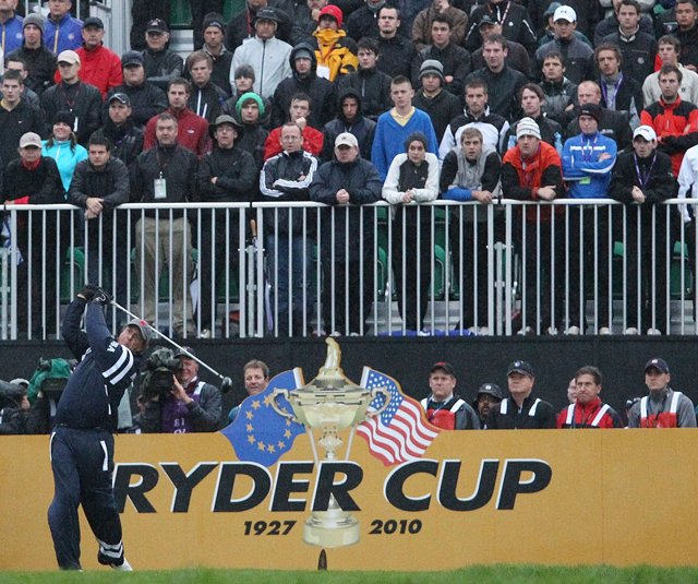Phil Mickelson tees off during the opening four-ball matches at the Ryder Cup.