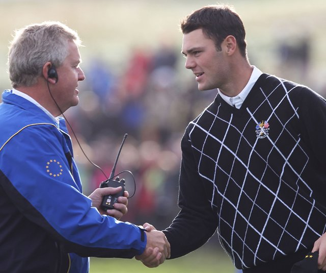 Colin Montgomerie congratulates Martin Kaymer.