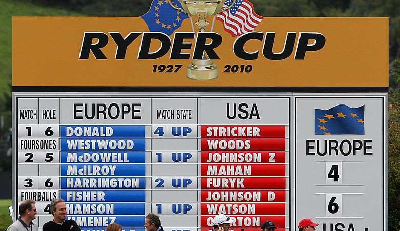 A leaderboard is seen during the fourball and foursome matches during the 2010 Ryder Cup.