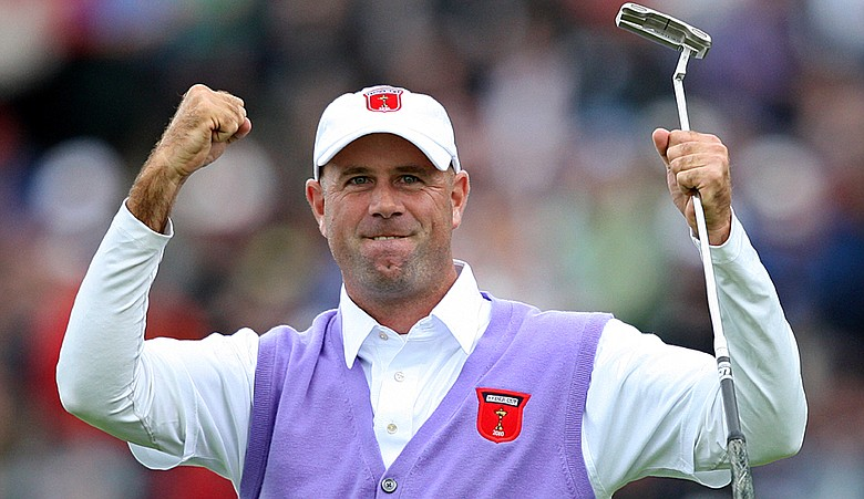 Stewart Cink celebrates his putt on the 17th green during the opening round of foursomes on the second day of the 2010 Ryder Cup.