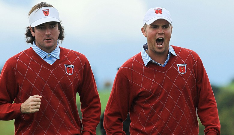 Bubba Watson and Jeff Overton during their Ryder Cup match on Sunday.