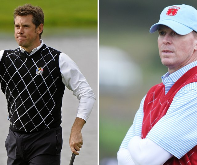 Lee Westwood (left) and Steve Stricker will be the first singles group off on Monday morning.