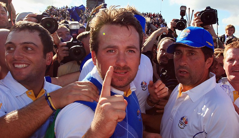 The Europeans celebrate after Graeme McDowell clinched a Ryder Cup victory.