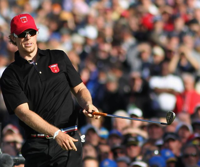 Hunter Mahan watches his pitch shot on the 17th hole of his Ryder Cup singles match against Graeme McDowell.