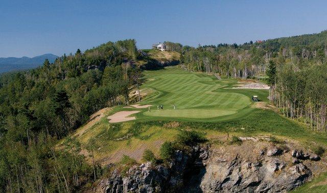 The first hole on the St. Laurent nine at Fairmont Le Manoir Richelieu.